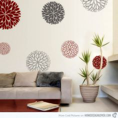 6 Abstract Flowers Vinyl Wall Sticker by Vinylimpression on Etsy Photo Wall Stickers, Flower Wall Stickers, Vinyl Wall Stickers, Wall Decals, Wall Stickers Unique, Wall Art, Wall Sticker Design, Wall Design, Decoration Stickers