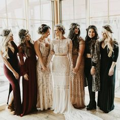 Mismatching bridesmaids_ looks in green, black, neutrals and burgundy for a boho chic fall wedding Hippie Bridesmaid Dresses, Mismatched Bridesmaid Dresses, Wedding Dresses, Boho Bridesmaids, Yellow Bridesmaids, Vestido Hippie Chic, Wedding Bells, Boho Wedding, Hippie Chic Weddings