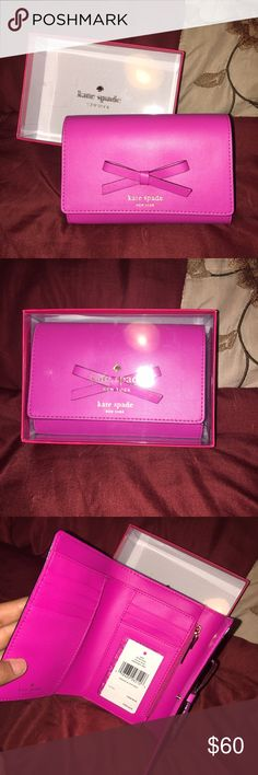 New in box Kate Spade sawyer street wallet! Comes from a smoke free home! Brand new with tags! SNAPDRAGON pink color sawyer street wallet! Has plenty of card slots along with a zipper on the side to hold change! Beautiful bow on the outside of the wallet as well! kate spade Bags Wallets