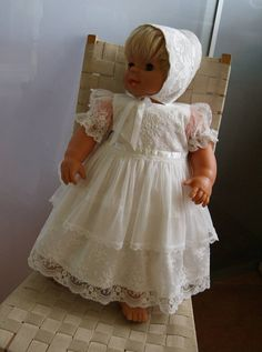 Items similar to LAILA Christening Gown with detachable long layer , Ivory Lace Baptism Gown, Baptism dress, Christening set, on Etsy