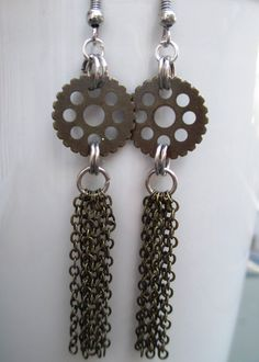 Gold and silver steampunk gear tassel earrings handmade jewelry