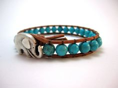 #jewelry Beaded leather wrap bracelet turquoise magnesite bohemian style