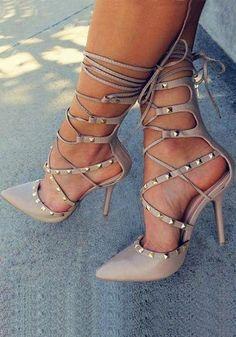 0d1a1689e0df Shoespie Smart Rivets Lace Up Stiletto Heels