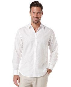 Cubavera Embroidered Linen-Blend Shirt for the groomsmen