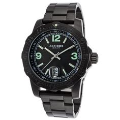 6136ae24dd431 Akribos Xxiv Ak696bk Men s Essential Black Ion Plated Stainless Steel And Dial  Black Ip Ss Watch