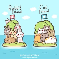 http://japanlover.me/kawaii/?p=4918  Japan's rabbit island and cat island(s) are islands where hundreds of bunnies and cats (respectively) live freely~ with only very few people (residents/caretakers) who stay in the island to take care of them/feed them. [Bunny Island] http://ti.me/SMZcPC [Cat Island] http://dailym.ai/1iCOk0U Art by Little Miss Paintbrush