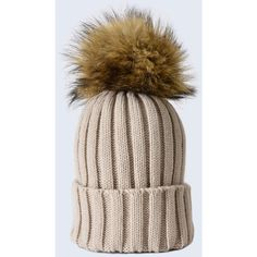 2ea48519086 Amelia Jane London Oatmeal Hat With Brown Faux Fur Pom Pom ( 42) ❤ liked