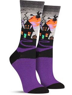 You know that house on your block that all the little trick-or-treaters are too scared to visit because the Halloween decorations are just too intense? That's your place, isn't it? Take pride in your Silly Socks, Dog Socks, Funky Socks, Crazy Socks, Halloween Socks, Halloween Outfits, Halloween 2017, Holiday Socks, Holiday Sweater
