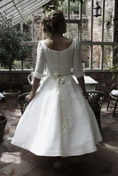 antique linen wedding dress by sarah treble bridal