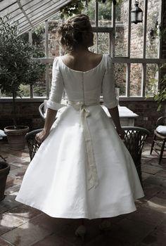 antique linen wedding dress by sarah treble bridal