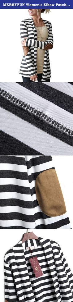 8639921bfbc MERRYFUN Women s Elbow Patch Striped White Black Cardigan Sweater XL. We  Are The Team Of