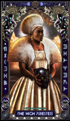 "petite-madame: "" Black Panther Tarot (Part - 2018 My take on The Black Panther movie characters. Part 1 is available HERE. Available as prints at my shop. "" Someone needs to buy me the WHOLE DECK! Black Panther King, Black Panther 2018, Black Panther Marvel, Black Love Art, Black Is Beautiful, Tarot Decks, Black Art Pictures, Black Artwork, Afro Art"