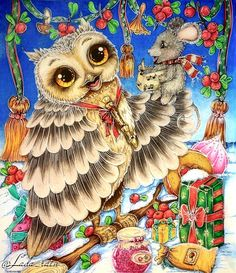 """with The """"Winter Owls"""" color along with friends & 👩🏻🦰👱🏻♀️👩🏻… Colouring Pages, Coloring Books, Coloring Tips, Colorful Drawings, Cute Drawings, Owl Wallpaper, Cartoon Birds, Owl Family, Markova"""