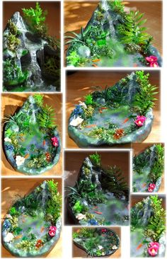 OOAK Faery Waterfall Pond by Forestina-Fotos.d … on - Diy and Crafts World Mini Fairy Garden, Fairy Garden Houses, Gnome Garden, Fairy Gardening, Garden Deco, Glue Crafts, Resin Crafts, Diy And Crafts, Deco Zen