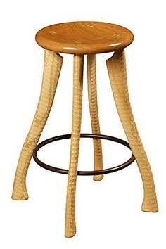 """25"""" Ax Handle Stool. Adapted from my dining chair design, this version with a 25"""" high seat is perfect for your kitchen counter. The legs are made from ash turned on a century old ax handle lathe which gives it a ripple texture. The seat is of solid cherry contoured to fit comfortably. Your feet can find a home on the solid steel footrest."""