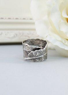 Silver FeatherRingSilverFlowerIris by ValleyGirlDesigns on Etsy