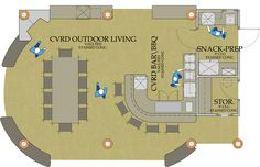 Outdoor Kitchen Floor Plans | Outdoor Living Bar, BBQ, Dining Area, Snack Prep and Storage