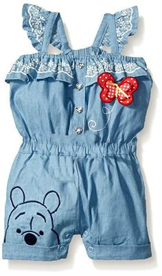 Disney Baby Girls Winnie The Pooh Denim Blue Romper Overall 12 & 18 Months NWT  #Disney #CasualParty