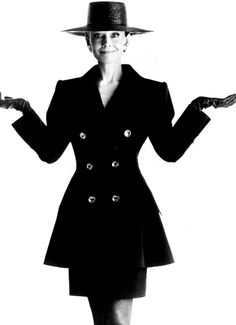 Mrs. Audrey Hepburn photographed by Gilles Bensimon for the French ELLE, in 1988. -Audrey was wearing creations of Hubert de Givenchy (suit made in black silk matte, leather gloves, hat and earrings).