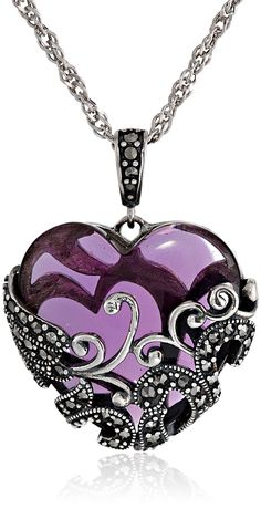 PURPLE & VINTAGE❤ This adorable Silver Heart Pendant Necklace features a heart-shaped glass stone incased in marcasite-accented filigree, with a marcasite-accented bail suspended by rope chain.There are more than 30 small marcasite gemstones! Cute Jewelry, Jewelry Gifts, Vintage Jewelry, Jewelry Accessories, Stylish Jewelry, Jewlery, Luxury Jewelry, Heart Jewelry, Statement Jewelry