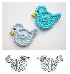 Best 12 Crochet Birds – DIY Ideas for Creativity – DIY Ideas – Salvabrani Source by dgdkkprc Crochet Applique Patterns Free, Crochet Motifs, Crochet Flower Patterns, Crochet Diagram, Crochet Chart, Crochet Designs, Crochet Flowers, Knitting Patterns, Tunisian Crochet
