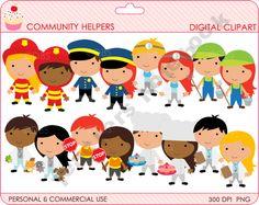 Community Helpers Clipart - doctor, dentist, firefighter, chef, farmer