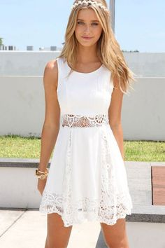 White lace casual dress, light and comfortable to stay cool and still feel classy.