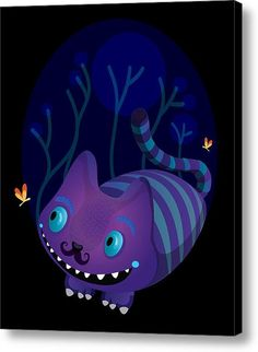 Mustache Cheshire Canvas Print / Canvas Art By Maria Jose Da Luz