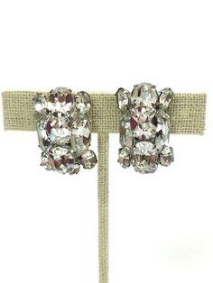 Vintage Eisenberg Rhinestone Earrings, Clear Crystal Earrings, Headlamp Stones, 1950s Hollywood Regency Statement Jewelry