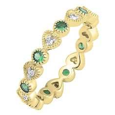 14K Yellow Gold Round Emerald & White Diamond Vintage Wedding Eternity Band Stackable Ring 1/2 CT
