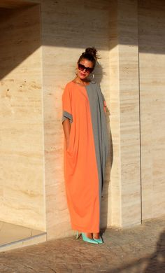 Grey and peach Oversize Maxi Elastic Cotton Caftan Dress/Summer dress/Party/Day/Plus size /Maxi dress/