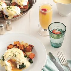 For this eggs florentine recipe, vitamin-K-filled spinach and omega-3-rich salmon sub in for ham or bacon, with a heathy hollandaise spooned overtop.
