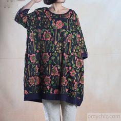 Navy print oversize cotton summer dress plus size sundress 3 quarter sleeve