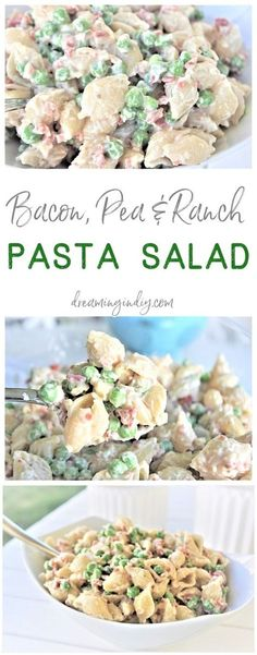 Easy Creamy Bacon Pea and Ranch Pasta Salad Side Dish Recipe Family Favorite - N. Easy Creamy Bacon Pea and Ranch Pasta Salad Side Dish Recipe Family Favorite - No chopping, dicing or waiting required. Ready in 15 minutes . Barbecue Sides, Barbecue Side Dishes, Side Dishes Easy, Side Dish Recipes, Picnic Side Dishes, Supper Recipes, Barbecue Recipes, Food For Potluck, Easy Potluck Side Dishes