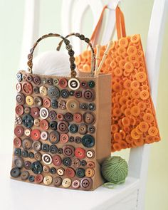 Use all of Grandma's old buttons to beddazzle up a tote