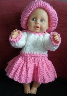 Hand Knitted dolls clothes Knitting Wool, Double Knitting, Hand Knitting, White Jumper, Pink Hat, Knitted Dolls, Doll Clothes, Crochet Hats, Model