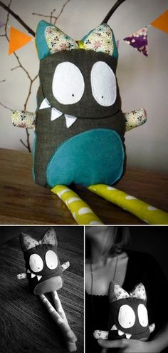 ♥♥ My Little Bliss ♥♥ Girl Monster-yeah! Chelsea…share this with your friend…I think she would like it! Monster Dolls, Monster Crafts, Tattle Monster, Softies, Sewing Toys, Sewing Crafts, Sewing Projects, Sewing For Kids, Diy For Kids
