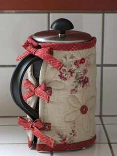 Linen & Red French Press Cozy / Patchwork Pottery