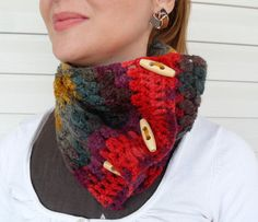 Chunky Scarf Wood Button Cowl Hand Crocheted by SmilingKnitting, $25.00