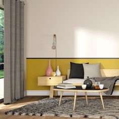 Used as a key or major role, the mustard yellow has this prodigious qu … - Home Page Bedroom Wall Colors, Room Wall Decor, Room Colors, Yellow Accent Walls, Yellow Interior, Living Room Paint, Interior Inspiration, Decoration, Interior Design