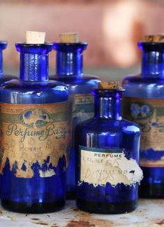 Deep Cobalt Blue, Antique Bottles Find these in the woods when we are surveying… Antique Perfume Bottles, Vintage Bottles, Bottles And Jars, Blue Perfume, Apothecary Bottles, Apothecary Cabinet, Antique Glassware, Love Blue, Blue And White