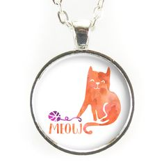 Cute Kitty Cat Necklace, Meow Pendant
