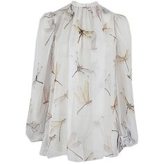 Alexander McQueen Long Sleeve Chiffon Dragonfly Blouse ($1,240) ❤ liked on Polyvore