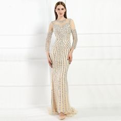 2e616f1e0e1e Luxury Long sleeves Sexy Diamond Sequined Mermaid Evening Dresses Sparkly  Evening Gown 2019 Real Photo Plus Size