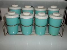 Vintage 1960s Turquoise Blue Spice Jars Rack Estate Kitchen Holiday Baking   eBay