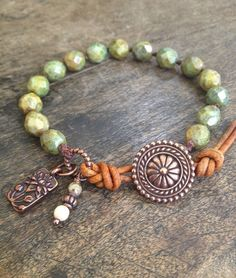 Bali Flower Fields,  Hand Knotted Bracelet - Beach Chic Island Style $33.00...love the leather with the knotted cord