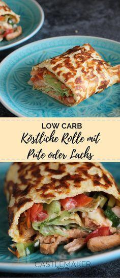 Low carb ist bei mir derzeit angesagt und da darf diese köstliche Low carb big mac rolle nicht fehlen. Der kohlenhydratarme Wrap wird mit Salat, Tomaten, Gurken und Putenstreifen gefüllt - einfach und lecker. Das Rezept ist auf meinem Blog. #lowcarb #rezept #bigmacrolle #wraps