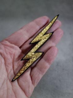 Hand Embroidered Lightning Brooch - product images  of
