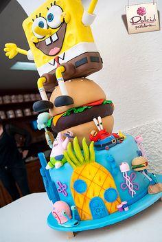 Pastel Bob Esponja Unique Cakes, Creative Cakes, Spongebob Birthday Party, Birthday Cake Disney, Character Cakes, Crazy Cakes, Köstliche Desserts, Cute Cakes, Cake Creations