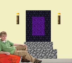 Kids Minecraft inspired DECAL PACK - Nether Portal - Wall Art - NEW